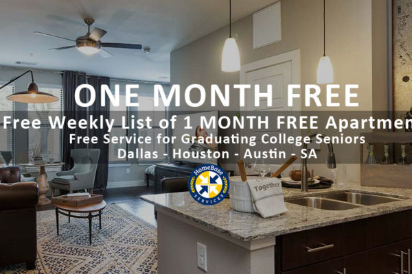 1 month free rent apartments - weekly email for Dallas - Houston - Austin - SA