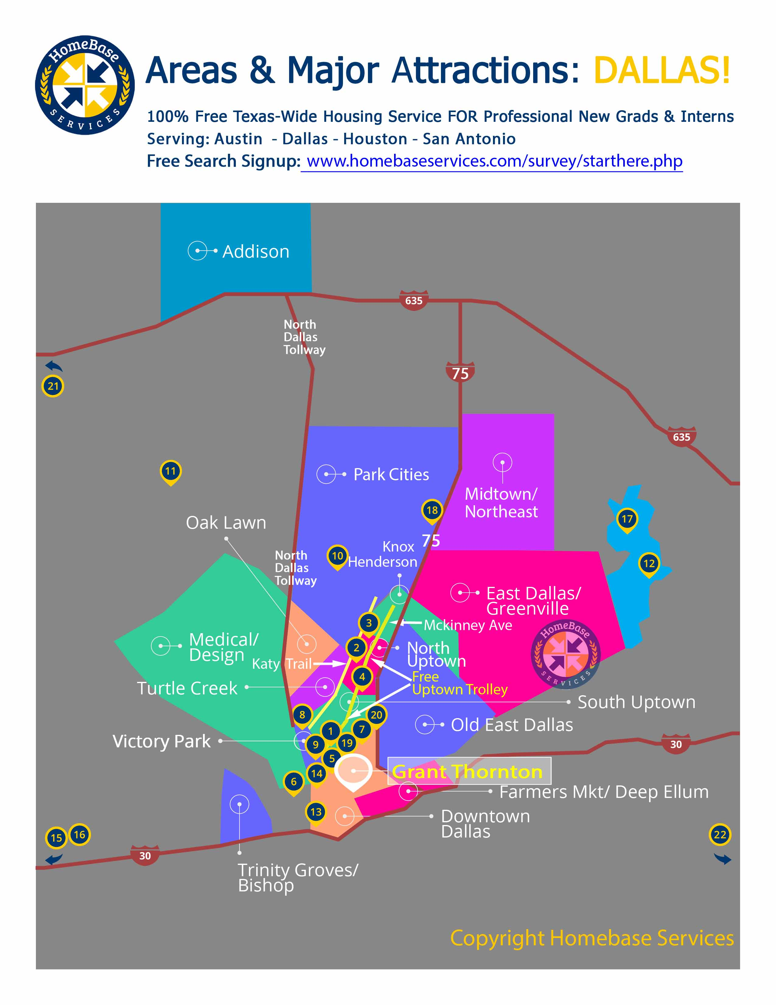 Grant Thorton Dallas Intern Housing Service & Free Dallas Area Map