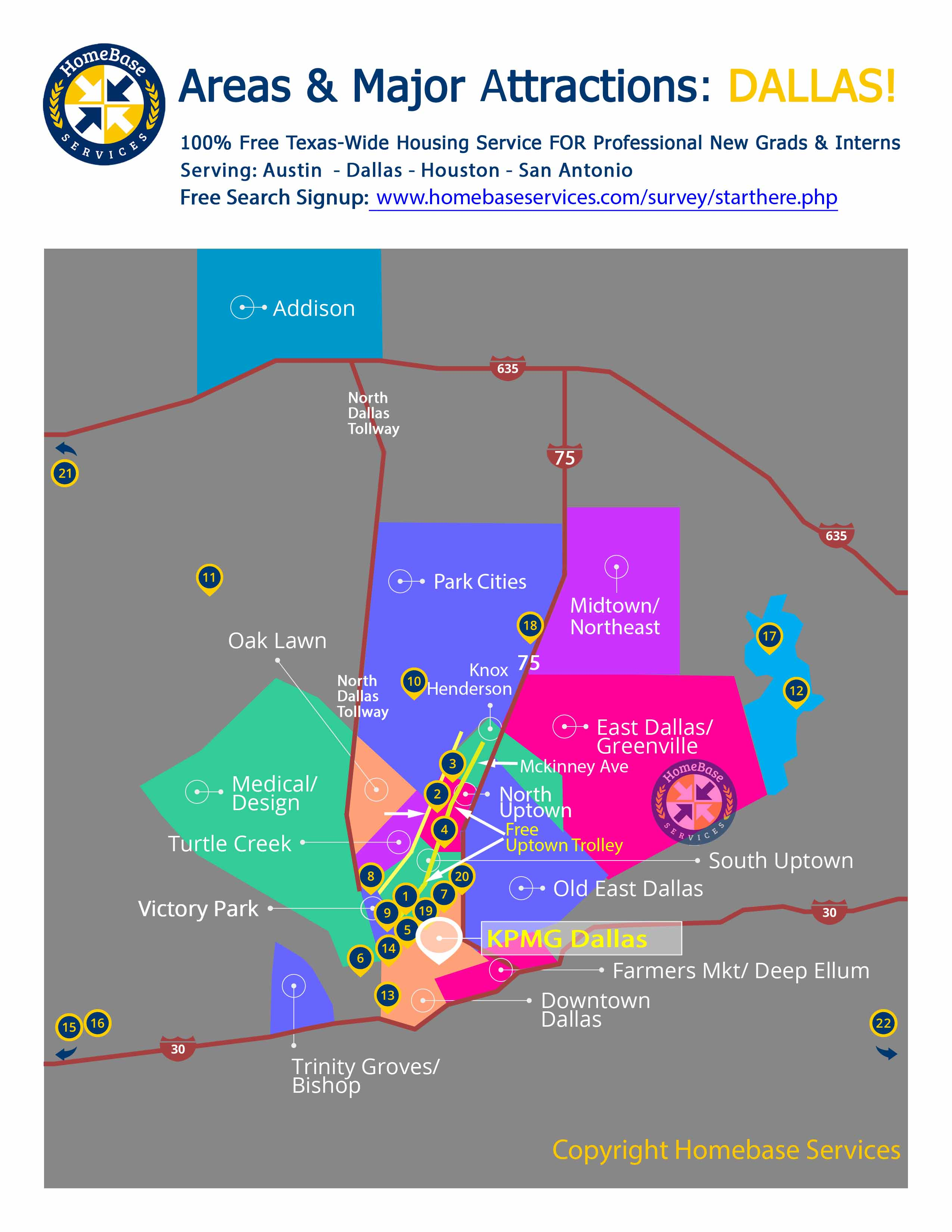 kpmg dallas area and attractions map